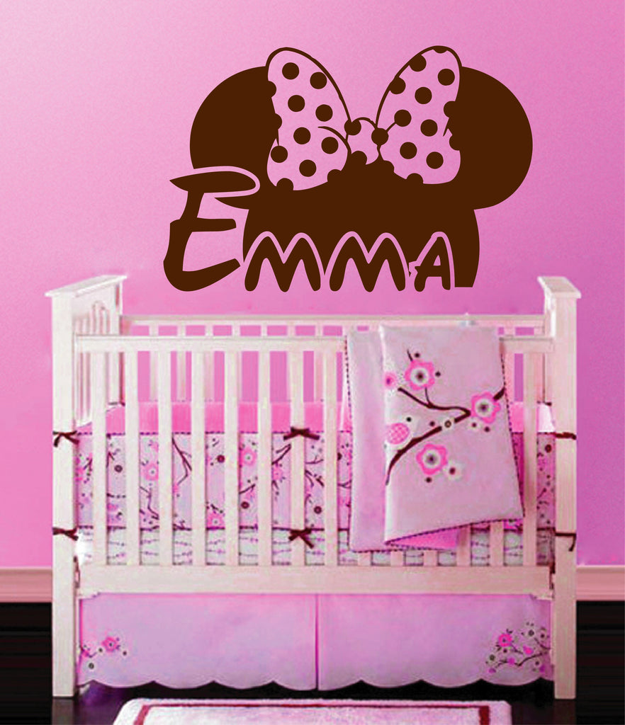 Ik141 Wall Decal Personalized Name Mickey Custom Head Mice Ears Mouse Custom