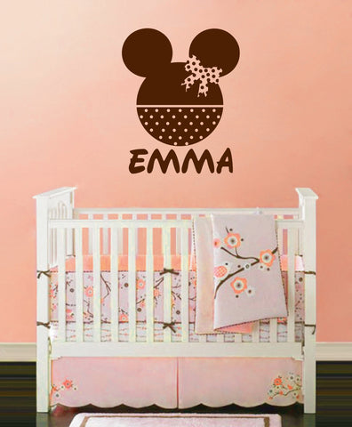 Ik142 Wall Decal Personalized Name Mickey Custom Head Mice Ears Mouse Custom