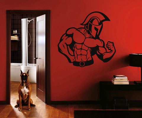 ik1439 Wall Decal Sticker fitness man pumped power bar bedroom sports hall