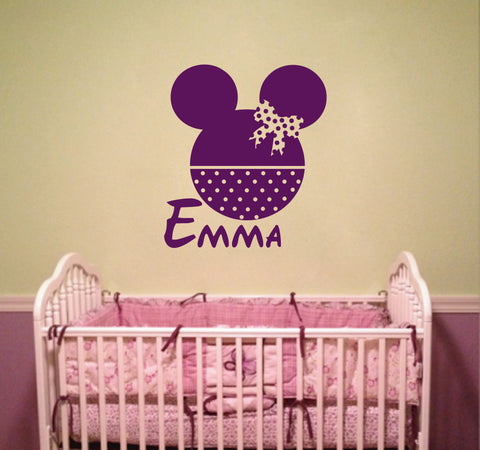 Ik143 Wall Decal Personalized Name Mickey Custom Head Mice Ears Mouse Custom