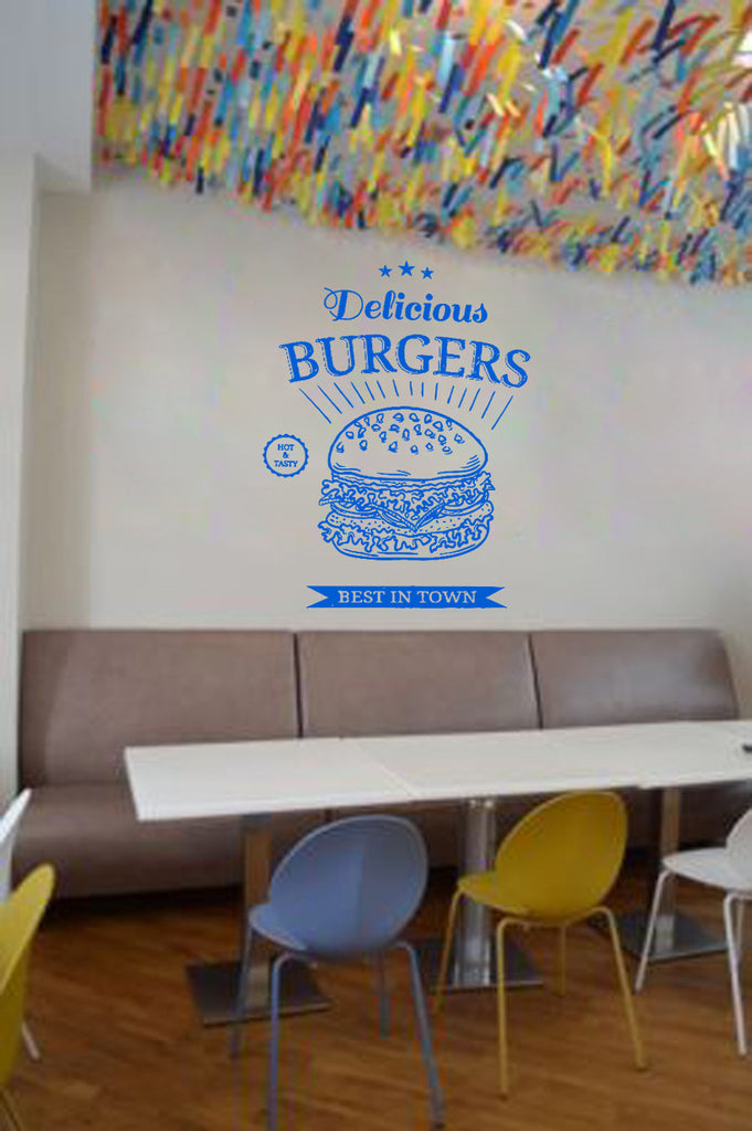 ik1445 Wall Decal Sticker fast food hamburger cheese burger snack fast food
