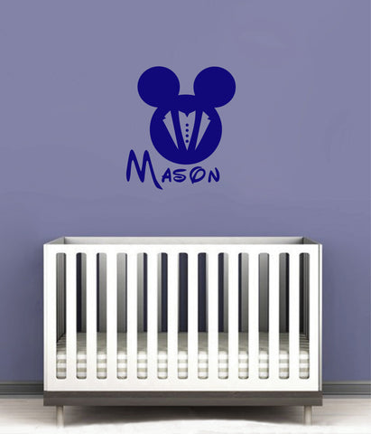 Ik145 Wall Decal Personalized Name Mickey Custom Head Mice Ears Mouse Custom