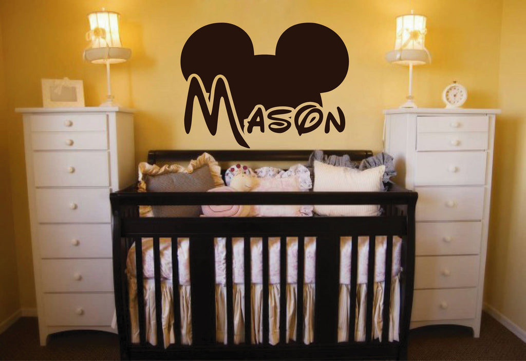 Ik146 Wall Decal Personalized Name Mickey Custom Head Mice Ears Mouse Custom