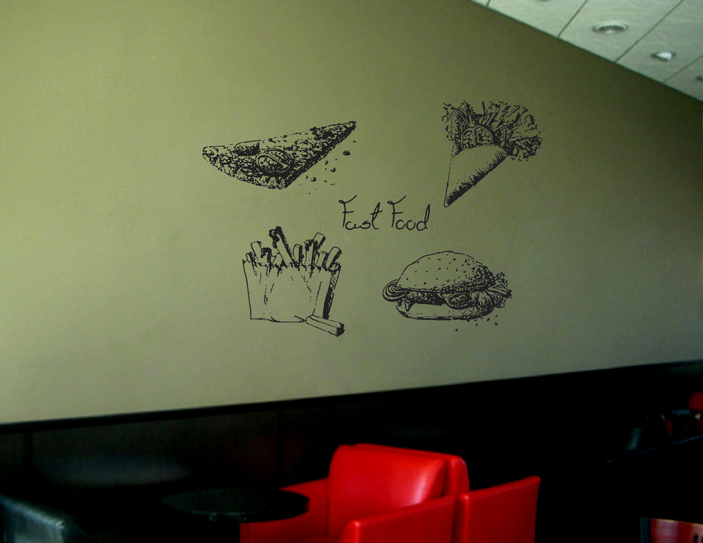 ik1477 Wall Decal Sticker pizza fast food hamburger potato snack fast food