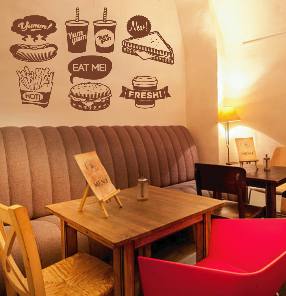 ik1478 Wall Decal Sticker fast food hamburger hot dog potato snack fast food