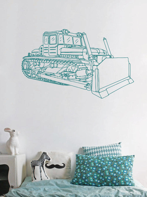 ik1494 Wall Decal Sticker bulldozer transportation machine building bedroom