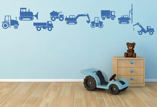 ik1496 Wall Decal Sticker bulldozer tractor excavator truck crowns machine