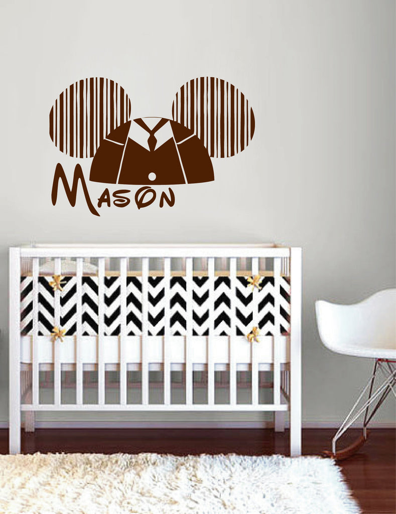 Ik149 Wall Decal Personalized Name Mickey Custom Head Mice Ears Mouse Custom