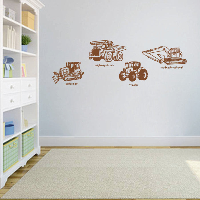 ik1501 Wall Decal Sticker bulldozer excavator truck tractor transport vehicle