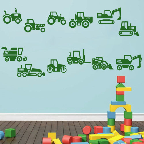 ik1506 Wall Decal Sticker excavator loader tractor bulldozer machine bedroom