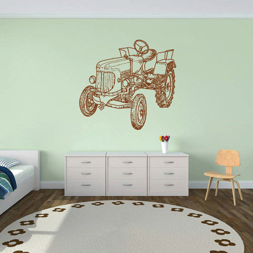ik1517 Wall Decal Sticker Tractor Working transport rack machine bedroom