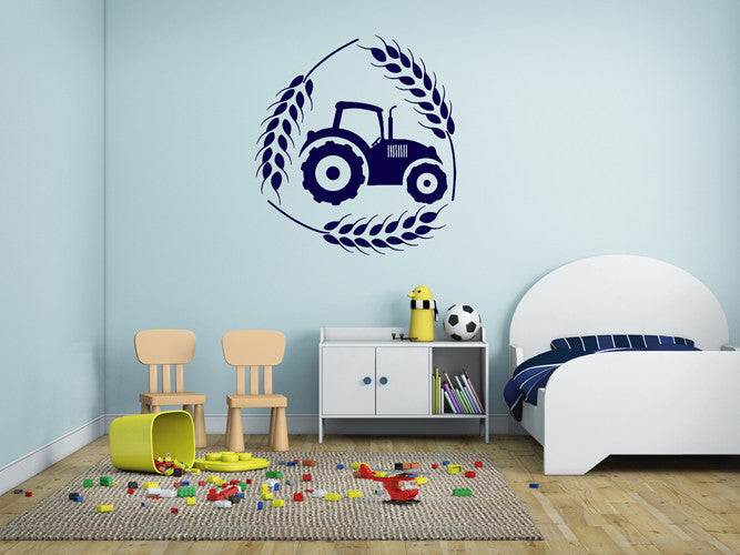ik1526 Wall Decal Sticker Tractor Working transport rack machine bedroom