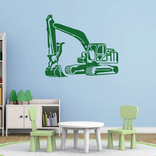 ik1530 Wall Decal Sticker Tractor excavator machine work building a bedroom