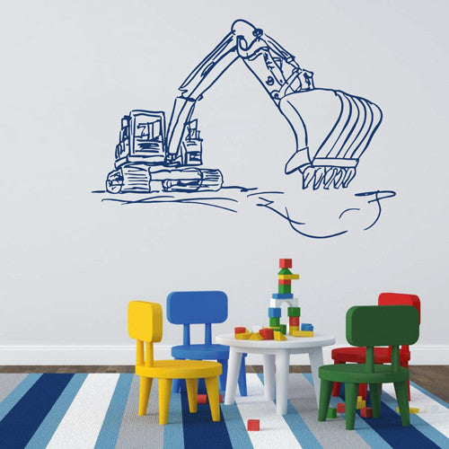 ik1533 Wall Decal Sticker Tractor excavator machine work building a bedroom