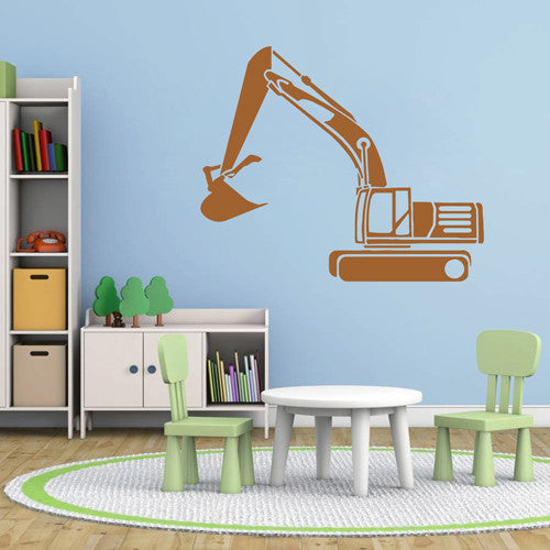 ik1536 Wall Decal Sticker Tractor excavator machine work building a bedroom