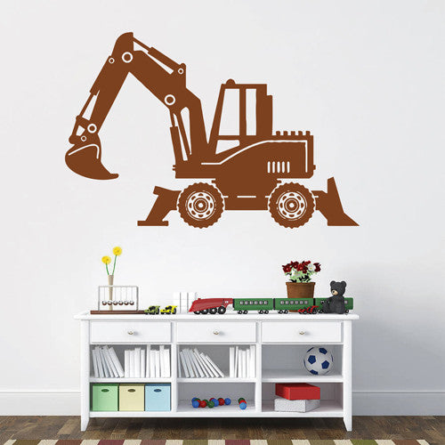 ik1537 Wall Decal Sticker Tractor excavator machine work building a bedroom