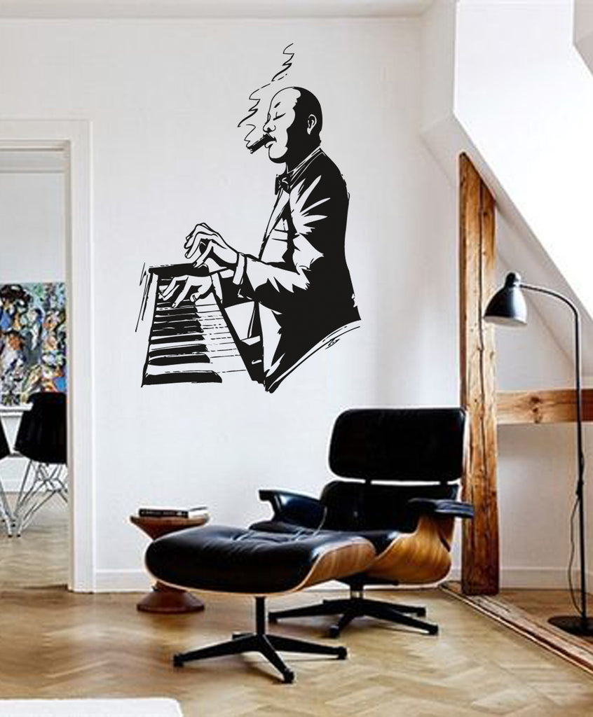 ik153 Wall Decal Sticker Decor jazz musician piano music thirties to interior