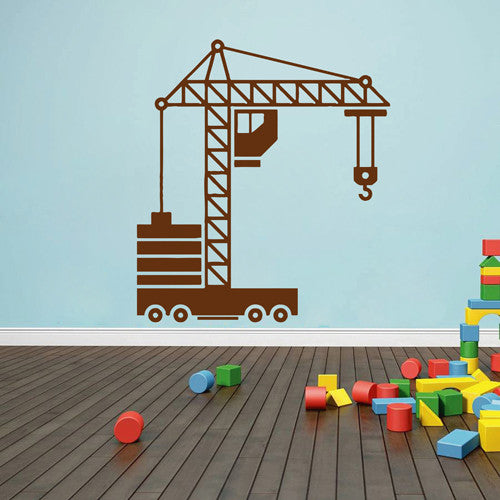 ik1544 Wall Decal Sticker tower crane machine work building a bedroom