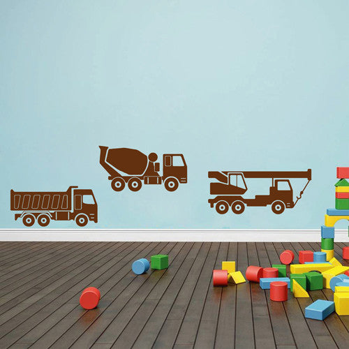 ik1545 Wall Decal Sticker concrete mixer truck crane building a bedroom
