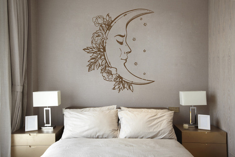 ik1552 Wall Decal Sticker month moon night sky stars living room bedroom