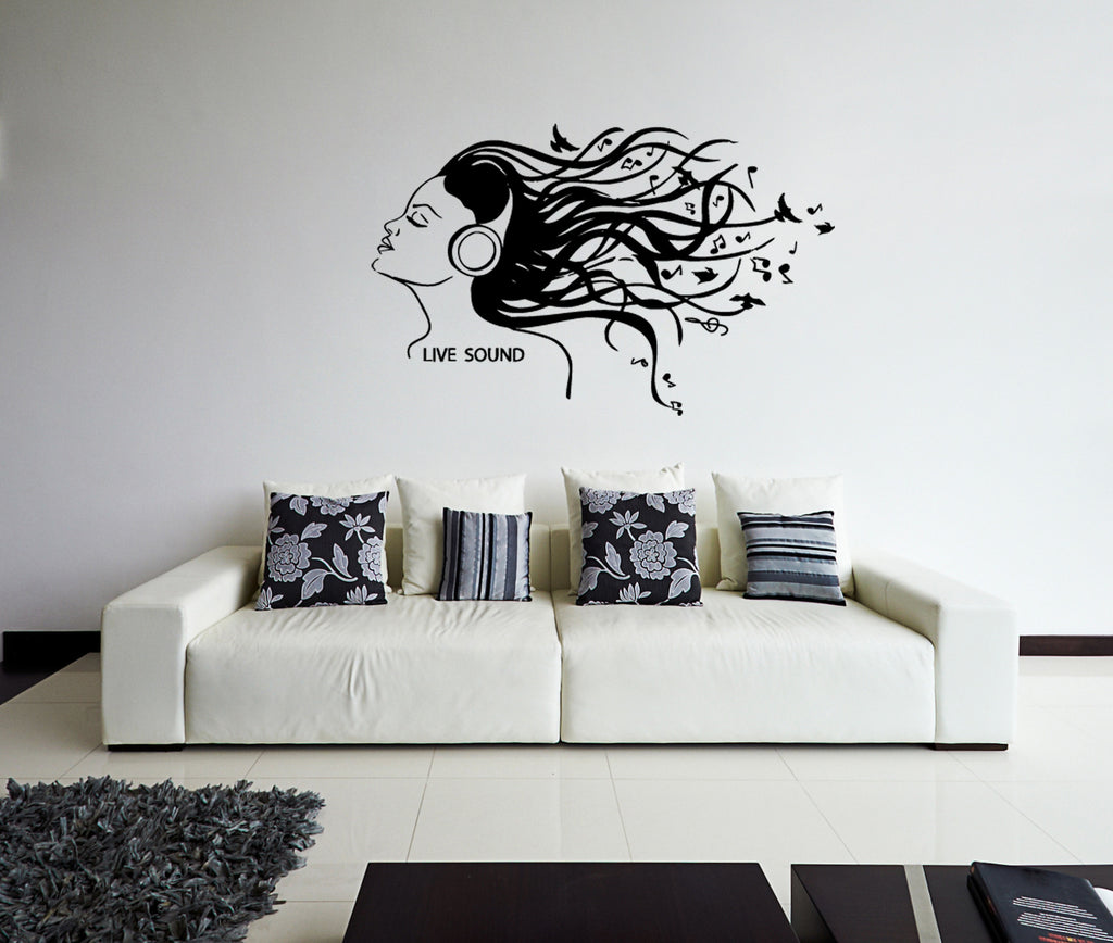 ik156 Wall Decal Sticker Decor girl headphones music song bass notes interior