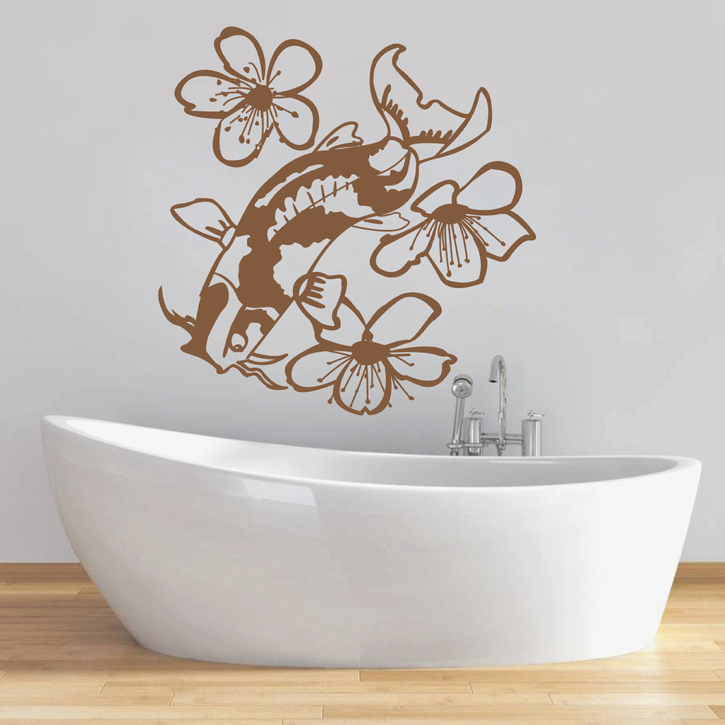 ik1574 Wall Decal Sticker fish catfish flowers bedroom living room bathroom