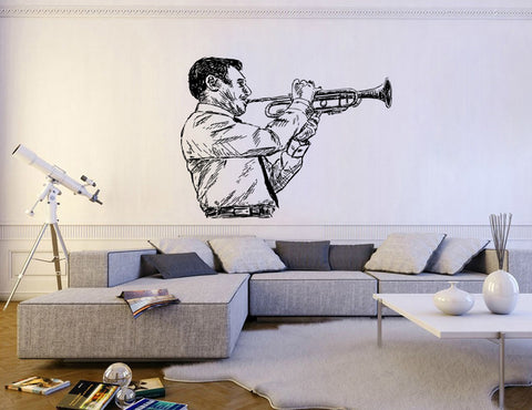 ik158 Wall Decal Sticker Decor jazz musician plays trumpet music thirties