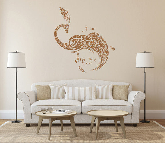 ik1633 Wall Decal Sticker Indian peacock bird abstract room Bedroom