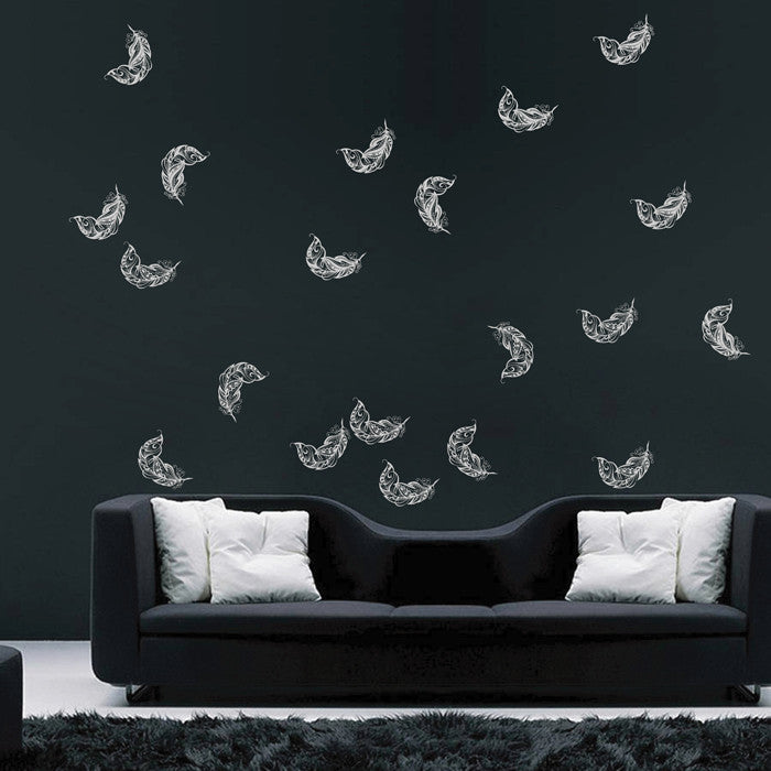 ik1638 Wall Decal Sticker fall feathers circling living children's bedroom