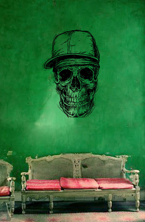 ik163 Wall Decal Sticker Decor skull cap interior bed