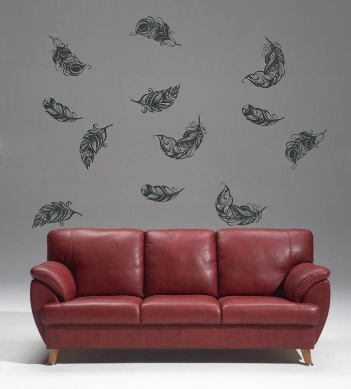 ik1640 Wall Decal Sticker fall feathers circling living children's bedroom