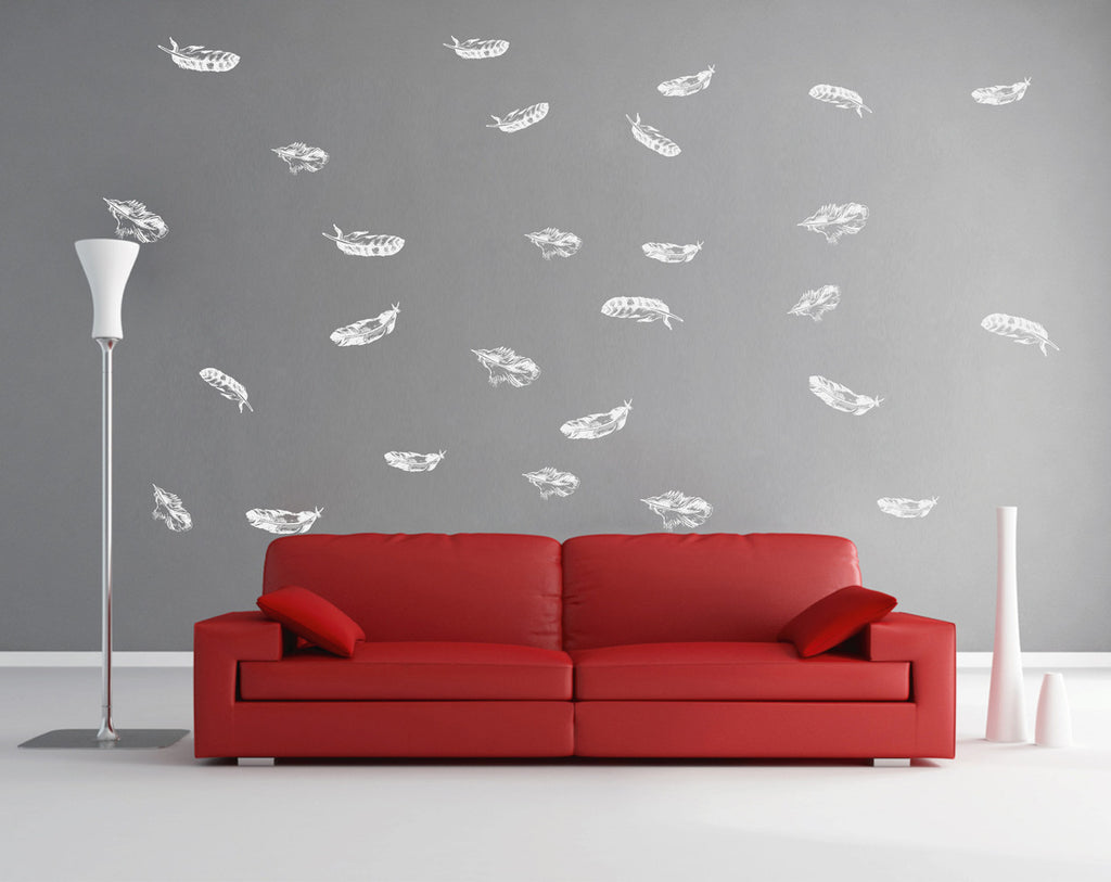 ik1642 Wall Decal Sticker fall feathers circling living children's bedroom