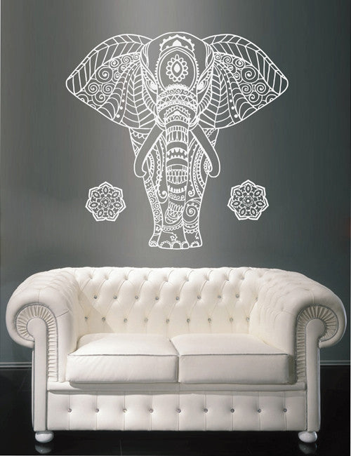 ik1643 Wall Decal Sticker Indian elephant god Ganesha Ornament bedroom