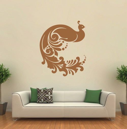 ik1655 Wall Decal Sticker Indian peacock bird sacred animals living bedroom