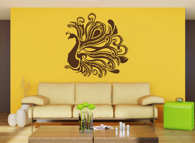 ik1657 Wall Decal Sticker Indian peacock bird sacred animals living bedroom