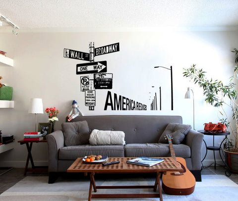 ik167 Wall Decal Sticker Decor Hints america interior bed