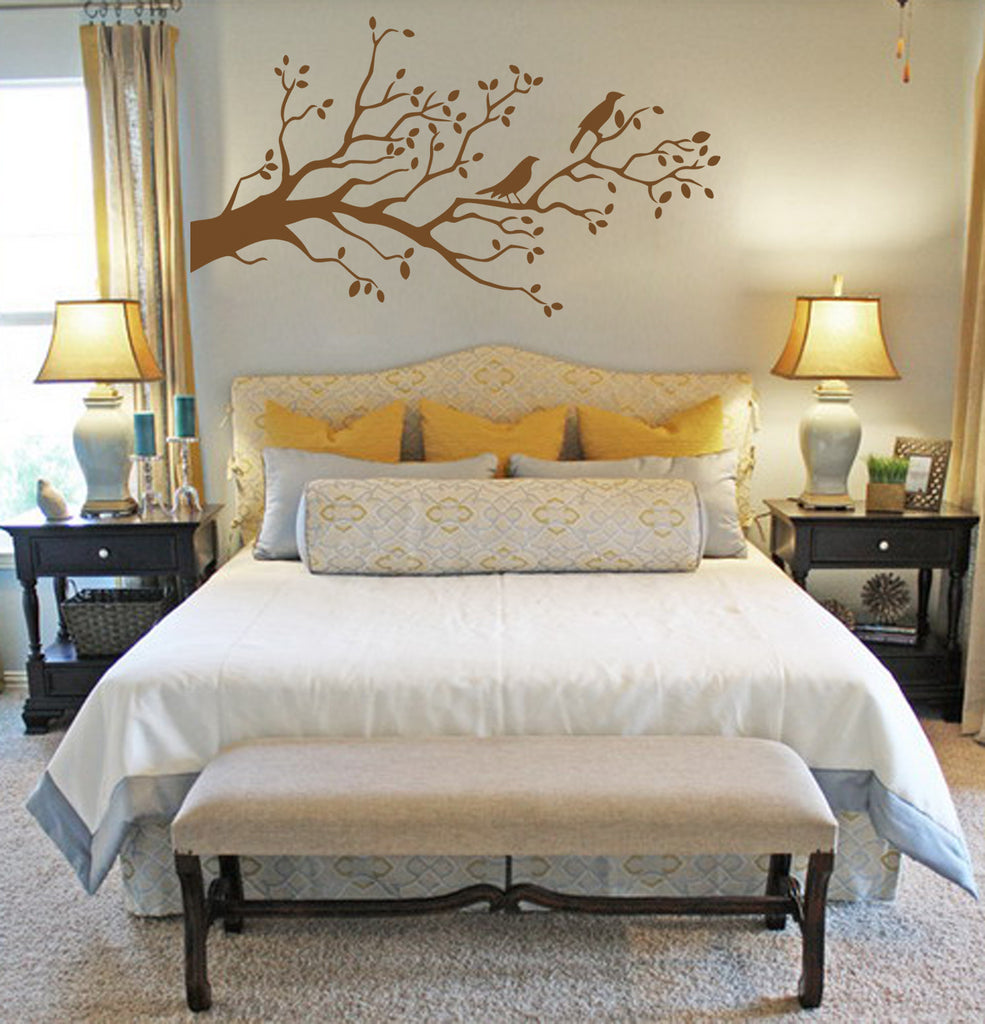 ik168 Wall Decal Sticker Decor tree birds interior bed