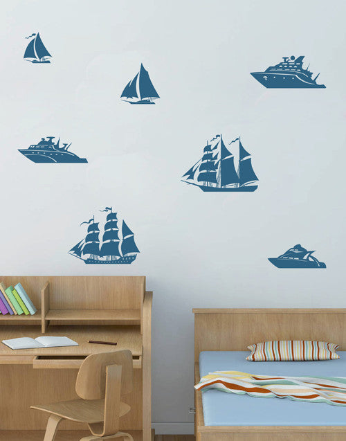 ik1693 Wall Decal Sticker Ships sailing boat frigate children's bedroom