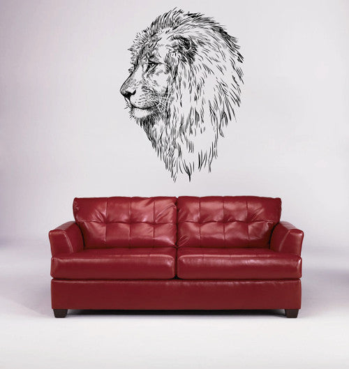 ik1734 Wall Decal Sticker lion head animal pencil drawing bedroom living room