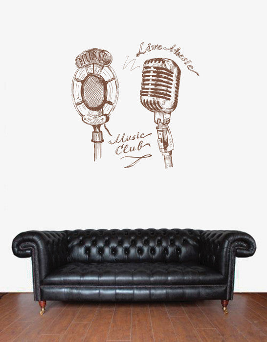 ik1737 Wall Decal Sticker mic microphone bedroom living room club song