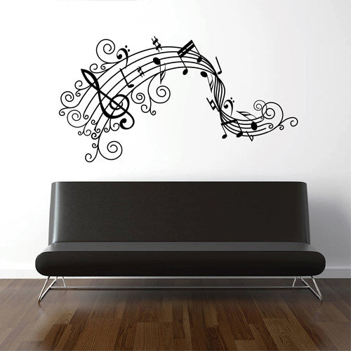 ik1749 Wall Decal Sticker music notes treble clef living room bedroom