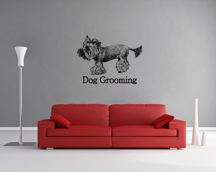 ik1758 Wall Decal Sticker Yorkshire Terrier dog grooming salon for dogs