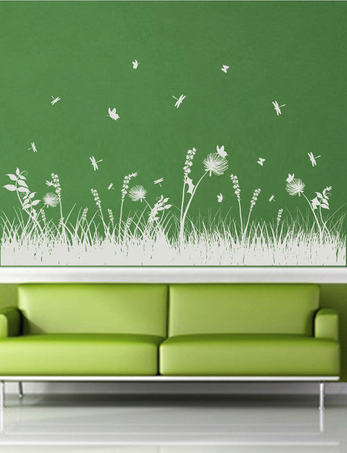 ik1772 Wall Decal Sticker grass flowers butterfly dragonfly living room bedroom
