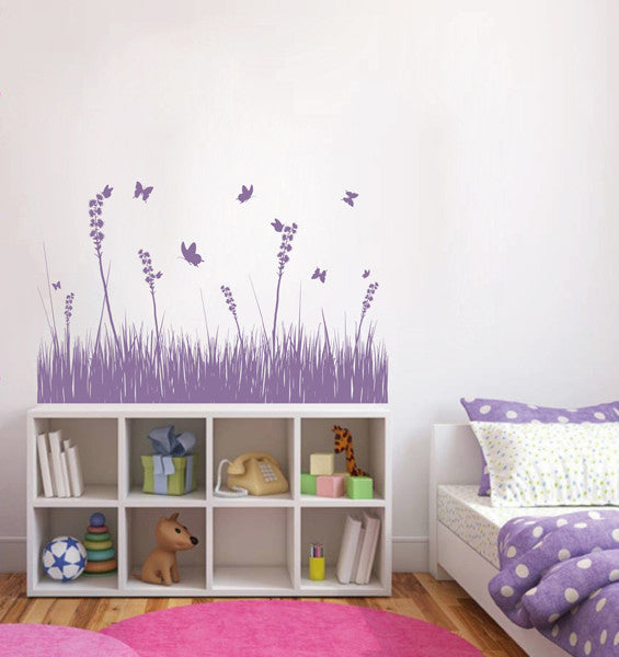 ik1773 Wall Decal Sticker grass flowers butterfly living room bedroom