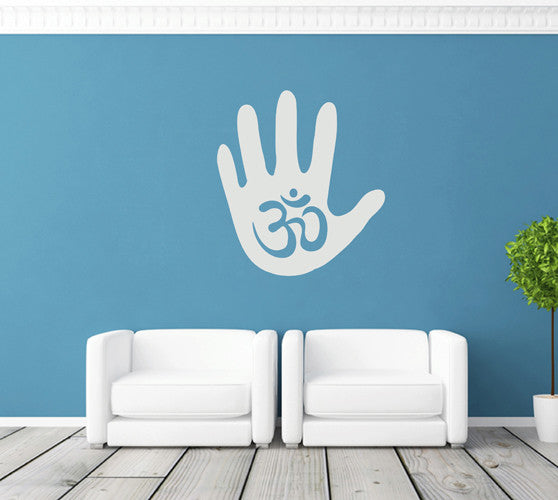 ik1782 Wall Decal Sticker Hindu om symbol hand living room yoga