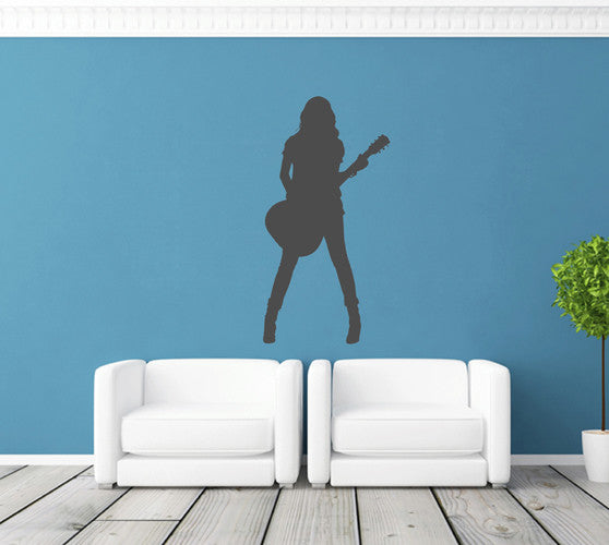 ik1807 Wall Decal Sticker girl guitar rock music room Bedroom