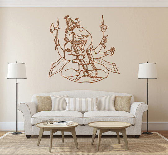 ik1809 Wall Decal Sticker Hindu elephant god Ganesh living room bedroom