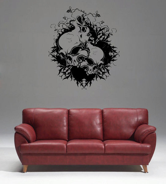 ik1829 Wall Decal Sticker skull flowers living room bedroom