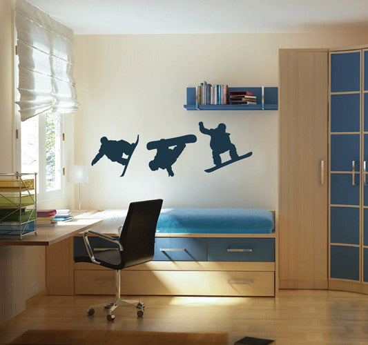 ik1839 Wall Decal Sticker Set snowboard snowboarding sports teenagers living