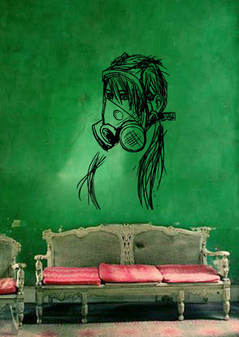 ik183 Wall Decal Sticker Decor girl gas mask postapokalipsis interior